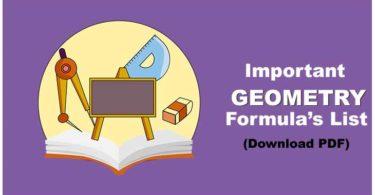 Geometry Formulas in Hindi PDF