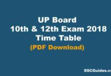 UP Board 2018 Time Table