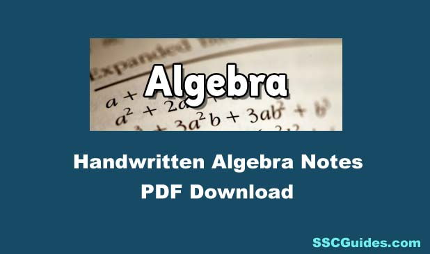 Handwritten Algebra Notes PDF Download