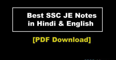 SSC JE Notes 2019 in Hindi and English PDF Download