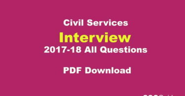 Civil Services Interview All Questions PDF