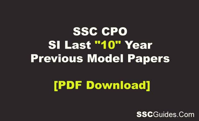 SSC CPO SI Last 10 Year Previous Year Old Paper