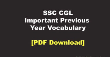 SSC CGL Previous Year Vocabulary PDF