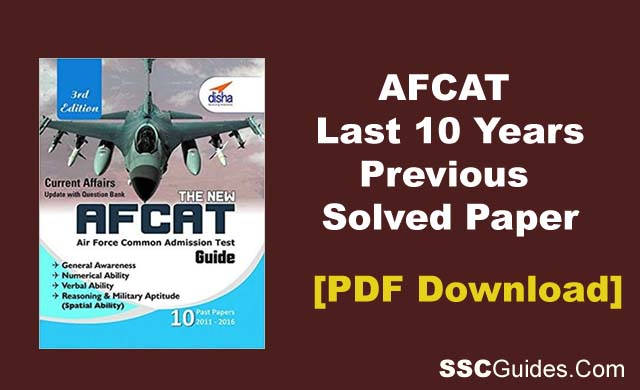 AFCAT Previous Years Paper PDF