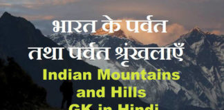 Indian Mountains and Hills GK in Hindi