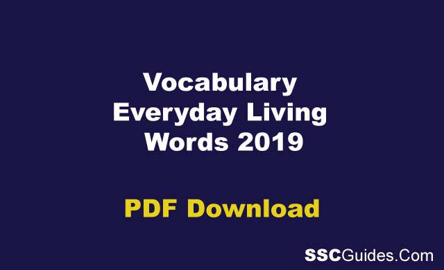 Vocabulary Everyday Living Words 2019
