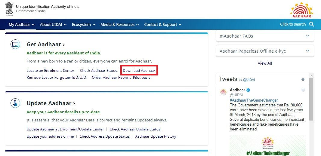 Download Aadhaar Card Online