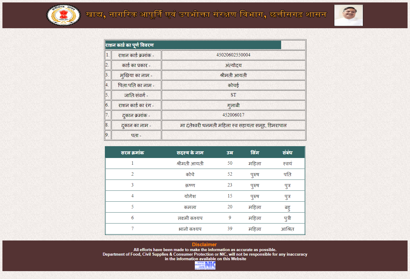 cg ration card download