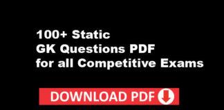 Static GK Questions PDF