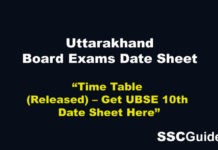 Uttarakhand Board 2020 Class 10th Time Table